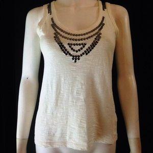 Zara Basic T Shirt Sleeveless Studded Tank Top